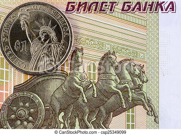 One US dollar and one hundred rubles - csp25349099