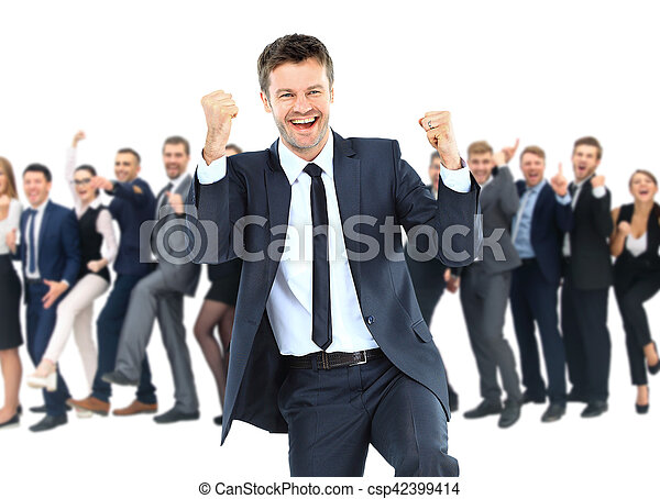 One very happy energetic businessman with his arms raised - csp42399414
