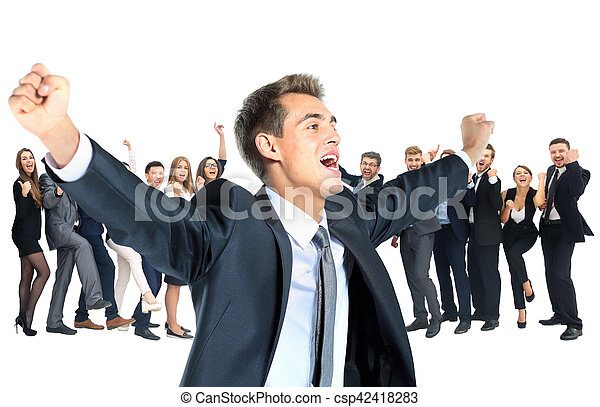 One very happy energetic businessman with his arms raised - csp42418283