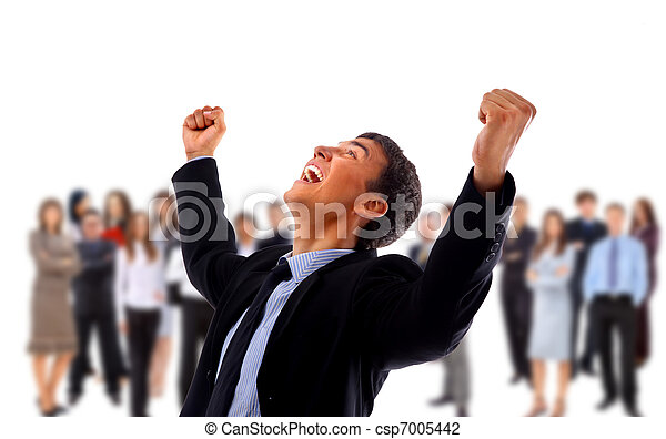 One very happy energetic businessman with his arms raised  - csp7005442