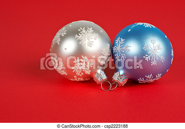 One white and blue Christmas ball - csp2223188