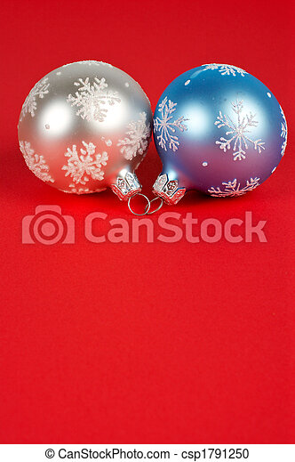 One white and blue Christmas ball - csp1791250