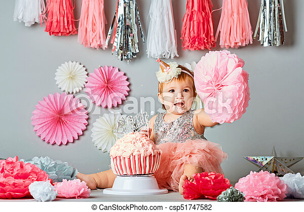One Year Old Birthday Portraits With Smash Cake Baby Girl And Her