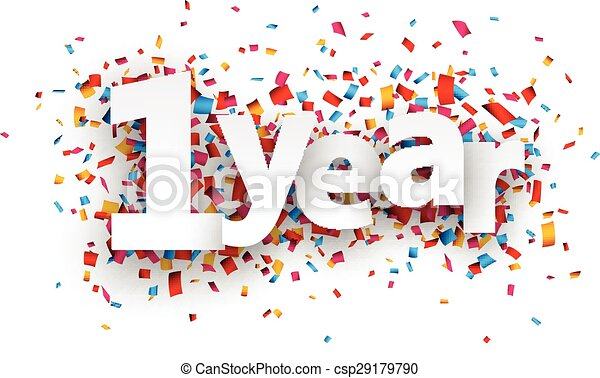 One year paper confetti sign. - csp29179790