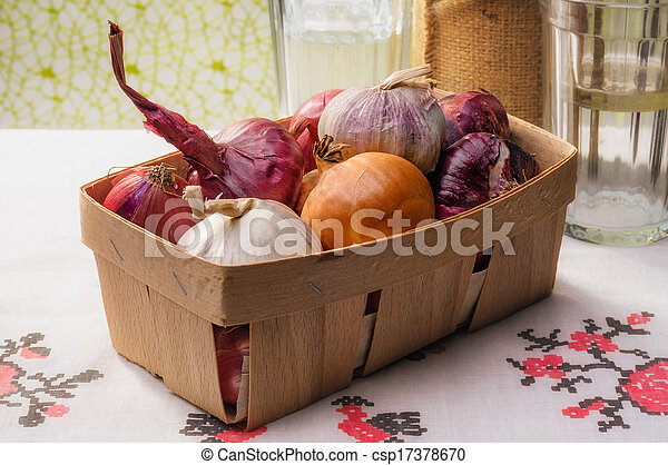 Onions and Garlic in a Crate - csp17378670