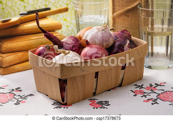 Onions and Garlic in a Crate - csp17378673