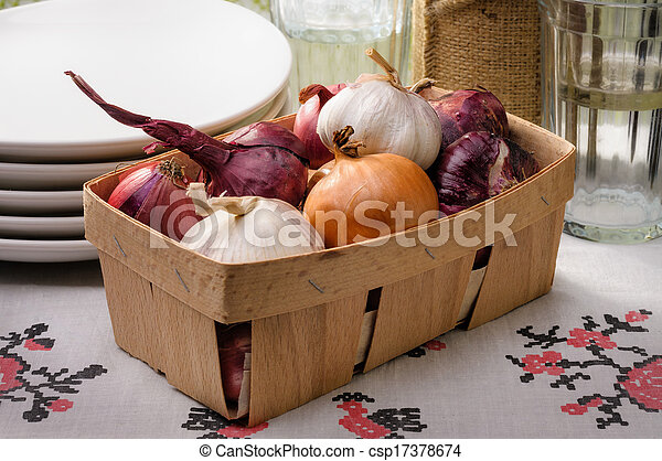 Onions and Garlic in a Crate - csp17378674