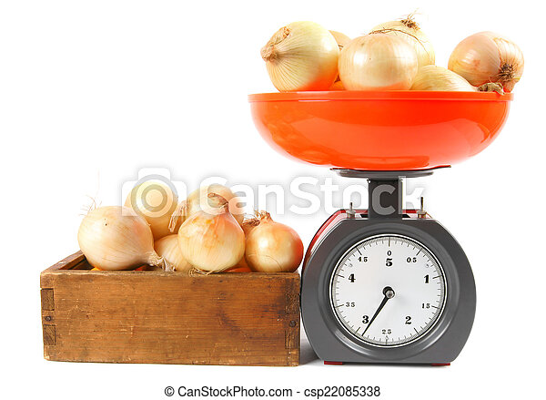 Onions on scales and in a box - csp22085338