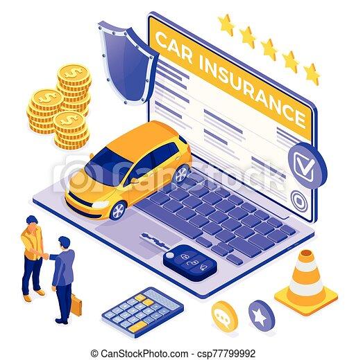 online , άμαξα αυτοκίνητο ασφάλεια , γενική ιδέα , isometric  - csp77799992
