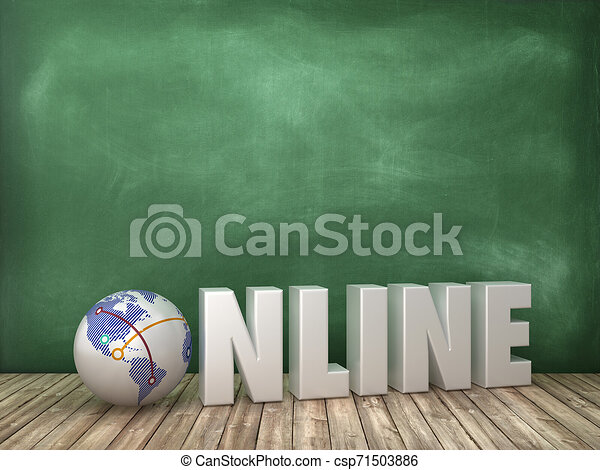 ONLINE 3D Word with Globe World on Chalkboard Background - csp71503886