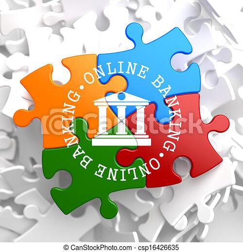 Online Banking Concept on Multicolor Puzzle. - csp16426635