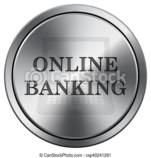 Online banking icon. Round icon imitating metal. - csp40241261