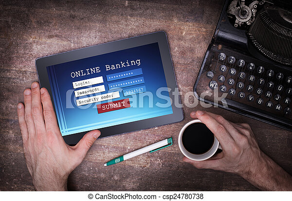 Online banking on a tablet - csp24780738