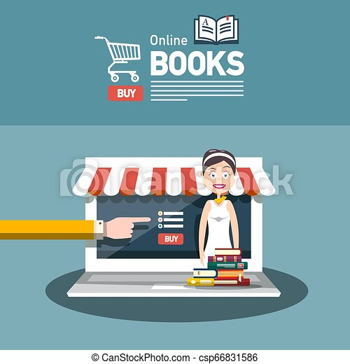 Online Book Store Vector Flat Design with Books and Woman. Library E-shop Concept. - csp66831586