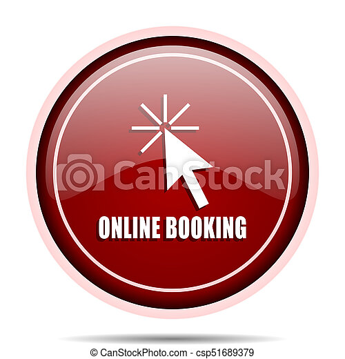 Online booking red glossy round web icon. Circle isolated internet button for webdesign and smartphone applications. - csp51689379