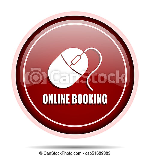 Online booking red glossy round web icon. Circle isolated internet button for webdesign and smartphone applications. - csp51689383
