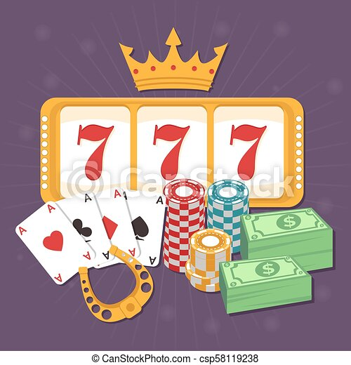 Online Casino Concept With Playing Cards Slots 777 And Chips Poker And Jackpot Win Gambling Game Web Gamble Play Canstock
