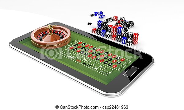 Online casino concept with tablet, roulette and chips isolated - csp22481963