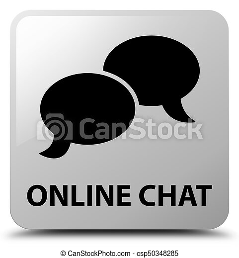 Online chat white square button - csp50348285