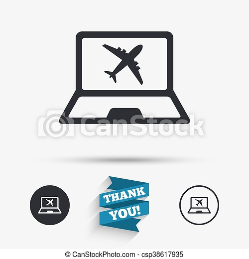 Online Check In Sign Airplane Symbol Travel Online Vectors