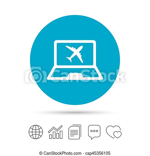 Online Check In Sign Airplane Symbol Travel Online Vector