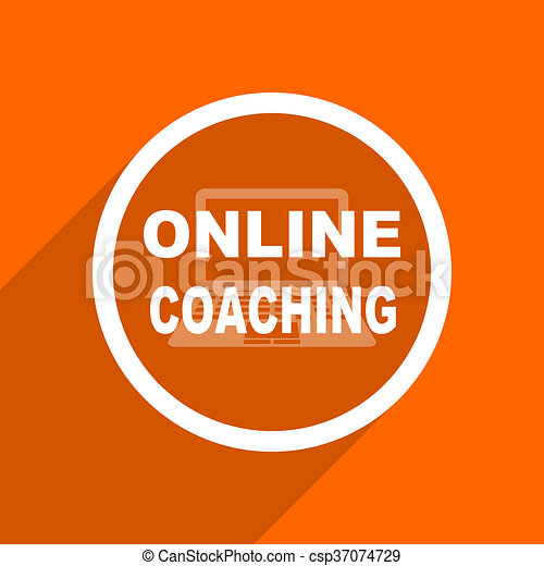 online coaching icon orange flat button web and mobile app design