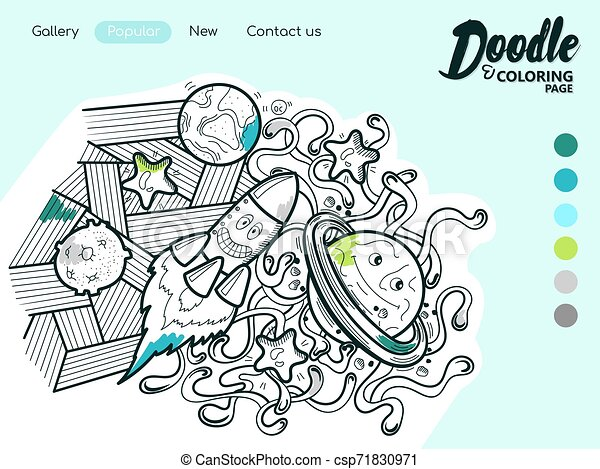 - Online Coloring Book Website. Online Coloring Book. Coloring Page In Doodle  Style For Adults. Space Travel. Vector