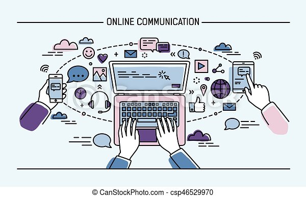 information technology gadgets communication lineart banner gadgets information 22597