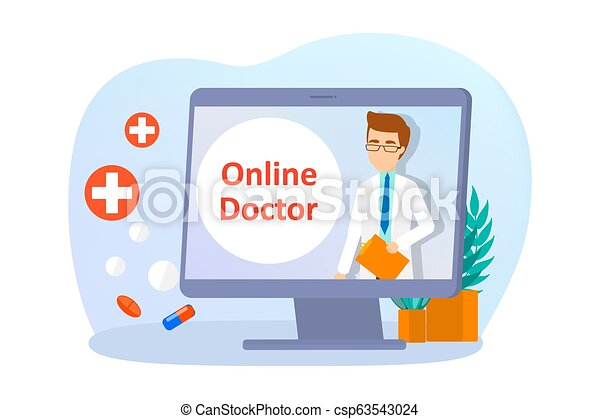 Online consultation with doctor. Remote medical treatment - csp63543024