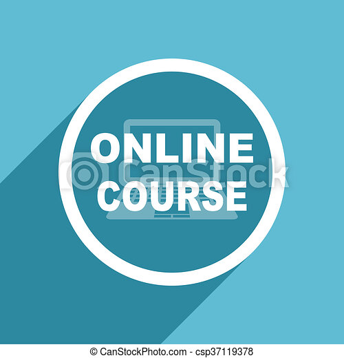 online course icon, flat design blue icon, web and mobile app design  illustration