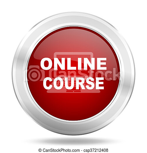 online course icon, red round glossy metallic button, web and mobile app design illustration - csp37212408