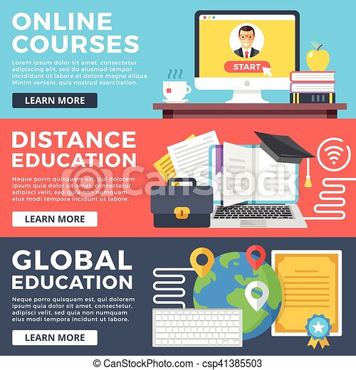 Online courses, distance education, global education flat illustration  concepts set  Flat design graphic for web sites, web banners, printed