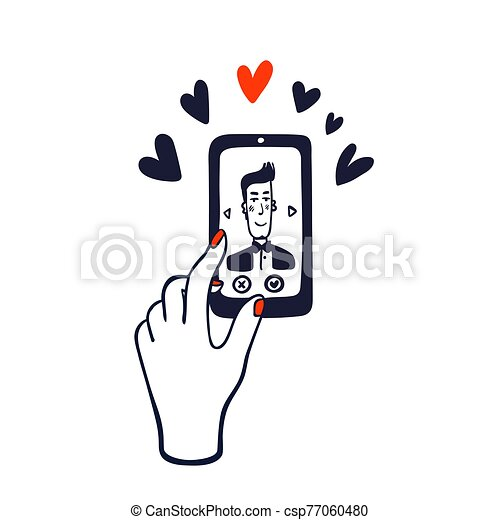Online dating service. hand swiping photos of men on the phone screen. Mobile phone application. Doodle style vector illustration - csp77060480