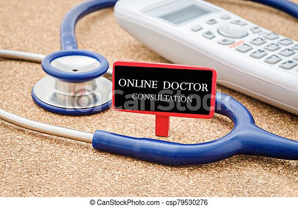 Online doctor consultation concept. - csp79530276