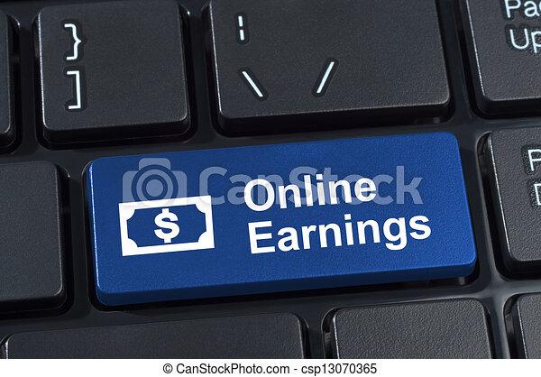 Online earnings computer keyboard button. - csp13070365