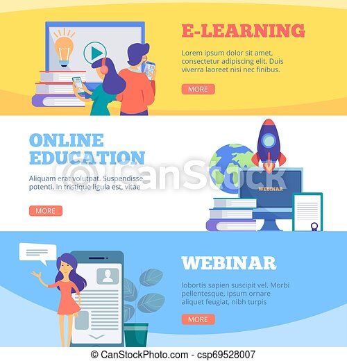 Online Education Banners Webinar Web School Conference E Learning Distance Courses Vector Flat Pictures Illustration Of