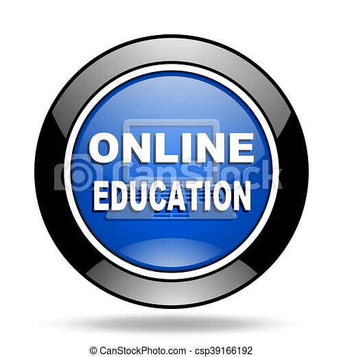online education blue glossy icon - csp39166192