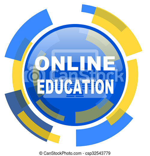 online education blue yellow glossy web icon - csp32543779