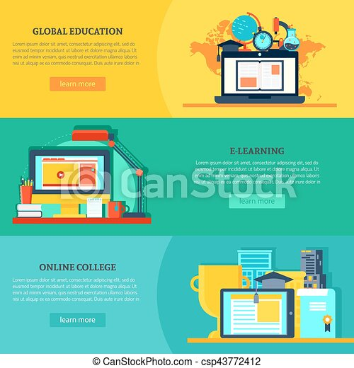 Online Education Horizontal Banners Online Education Horizontal Banners With Global Virtual Learning And Training In Flat
