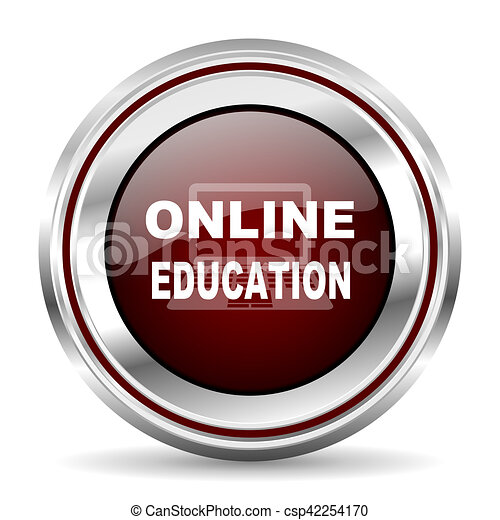 online education icon chrome border round web button silver metallic pushbutton - csp42254170