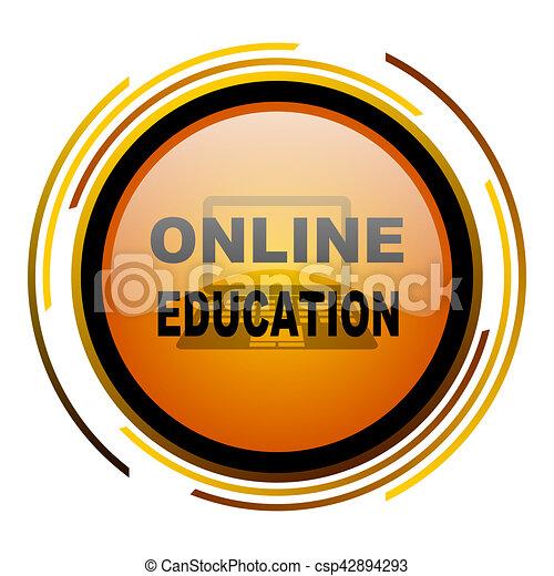 online education round design orange glossy web icon - csp42894293