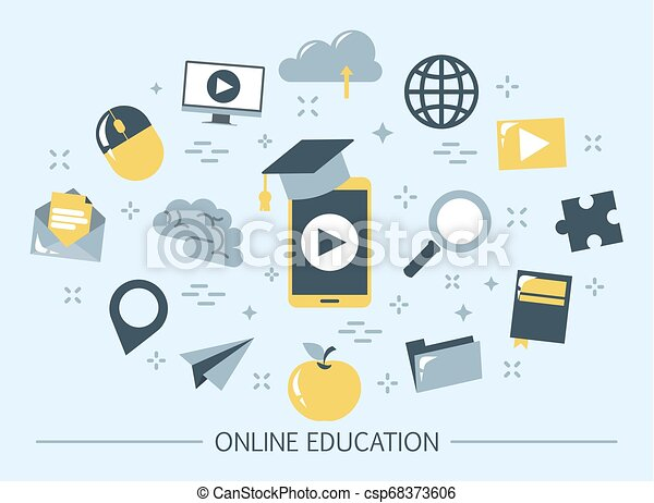Online Education Web Banner Idea Of Distance Learning And Remote Courses Study Using Computer Digital Course Set Of