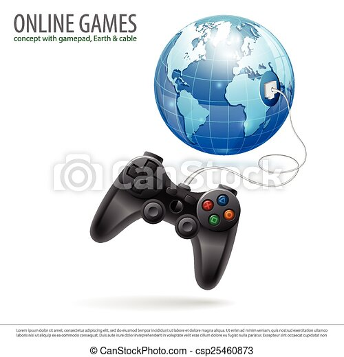 Online Games Concept With Gamepad And Earth In Realistic 3d Style Vector Illustration Isolated On White Background