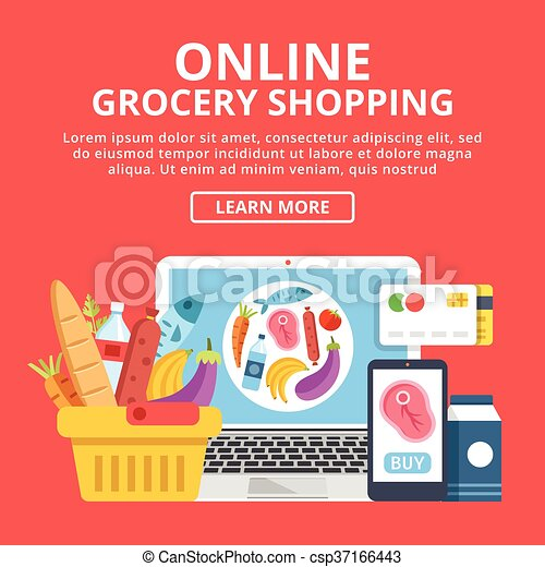 online grocery shopping web banner concept laptop with eps vector search clip art. Black Bedroom Furniture Sets. Home Design Ideas