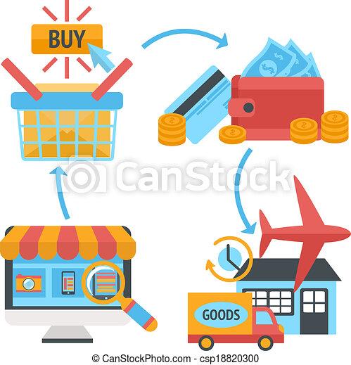 Online internet website shopping icons set - csp18820300