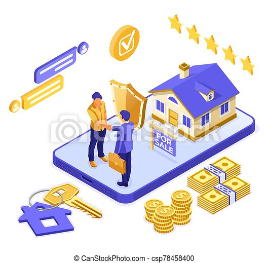online , isometric , ασφάλεια , σπίτι , πώληση , υποθηκεύω  - csp78458400