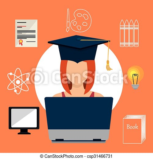 Online learning education graphic - csp31466731