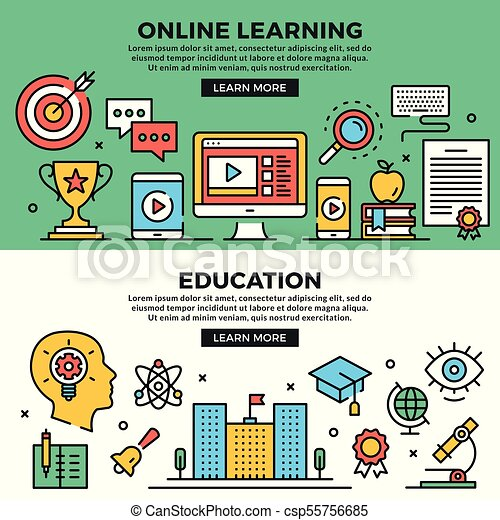 Online Learning Education Web Banners Set Line Art Concepts Creative Modern Flat Design Outline Graphic Elements Line