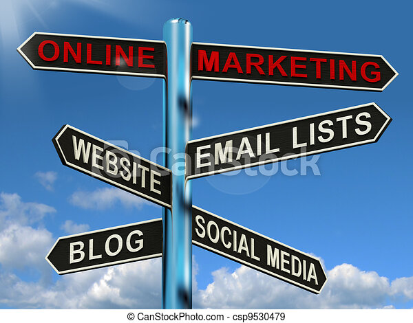 Online Marketing Signpost Shows Blogs Websites Social Media And Email Lists - csp9530479