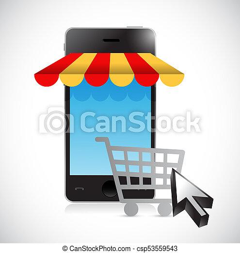 online mobile shopping store cart illustration - csp53559543